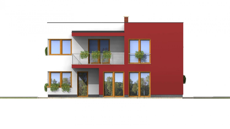 Pohľad 3. - Moderný exkluzívny dom s dvojgarážou a plochou strechou.