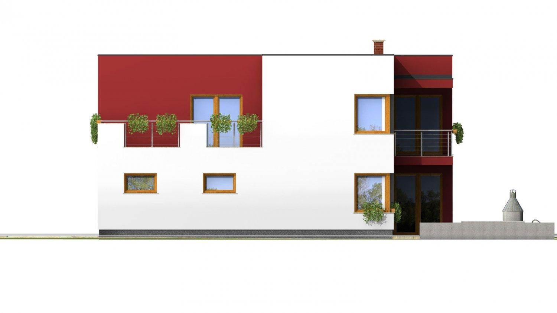 Pohľad 4. - Moderný exkluzívny dom s dvojgarážou a plochou strechou.