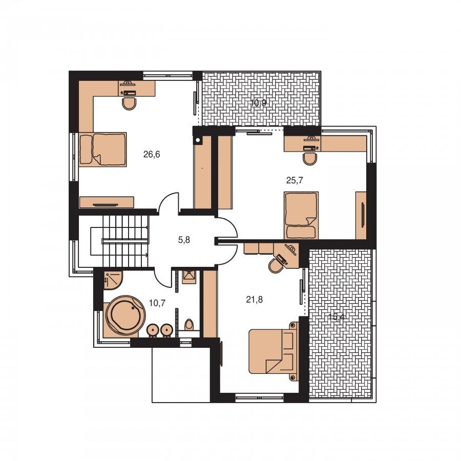 Pôdorys Poschodia - Moderný exkluzívny dom s dvojgarážou