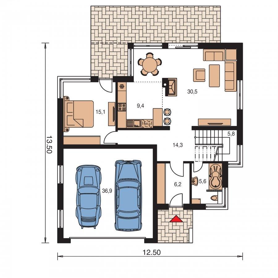 Pôdorys Prízemia - Moderný exkluzívny dom s dvojgarážou