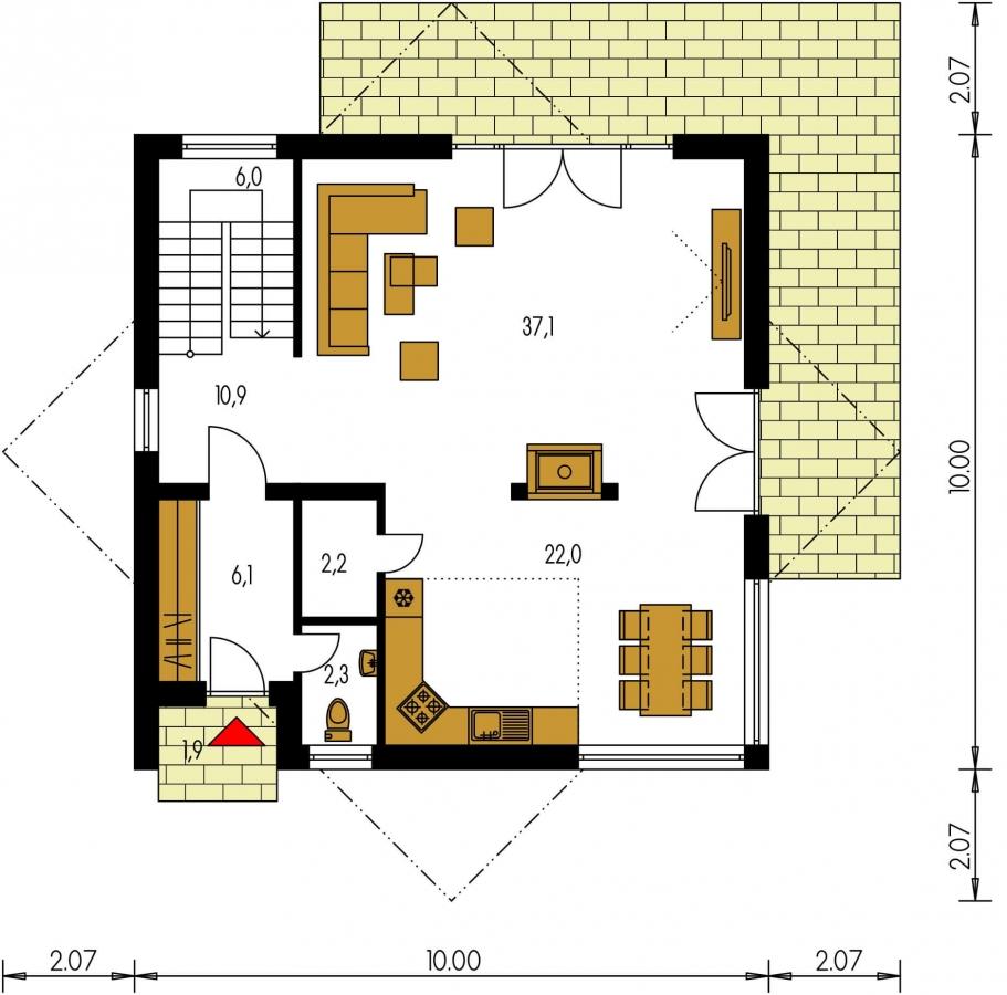 Pôdorys Prízemia - Moderný projekt poschodového rodinného domu s rovnou strechou