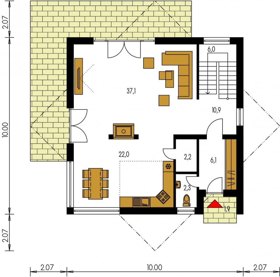 Pôdorys Prízemia - Moderný projekt poschodového rodinného domu s rovnou strechou.