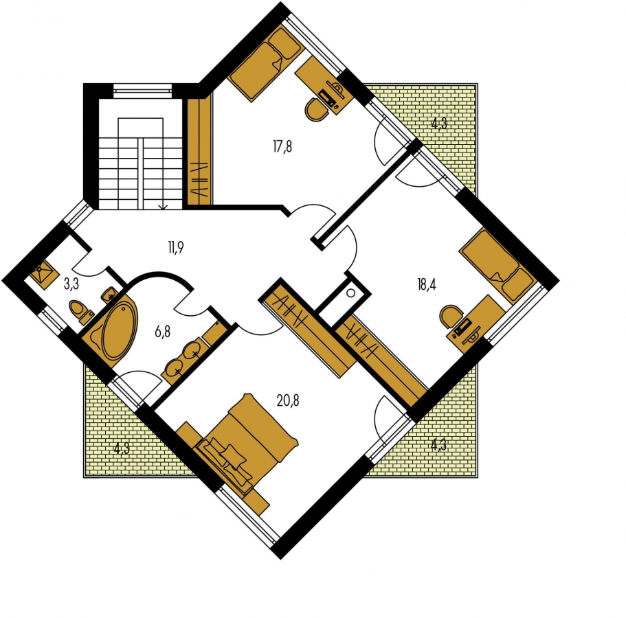 Pôdorys Poschodia - Moderný projekt poschodového rodinného domu s rovnou strechou