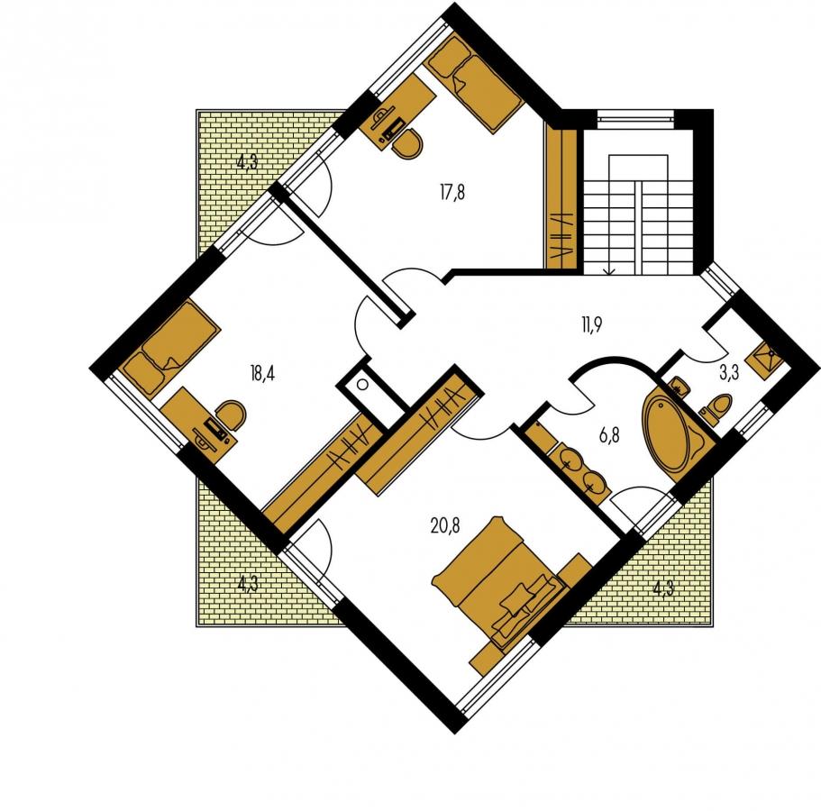 Pôdorys Poschodia - Moderný projekt poschodového rodinného domu s rovnou strechou.