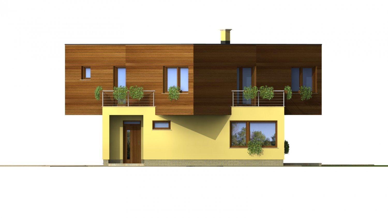 Pohľad 1. - Moderný projekt poschodového rodinného domu s rovnou strechou