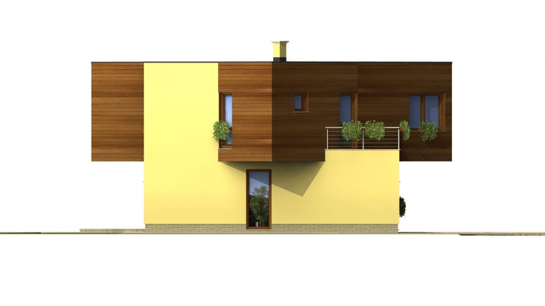 Pohľad 2. - Moderný projekt poschodového rodinného domu s rovnou strechou