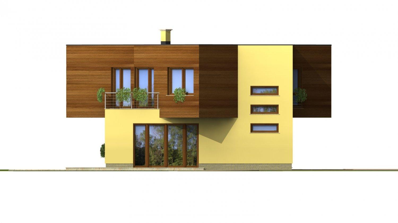 Pohľad 3. - Moderný projekt poschodového rodinného domu s rovnou strechou