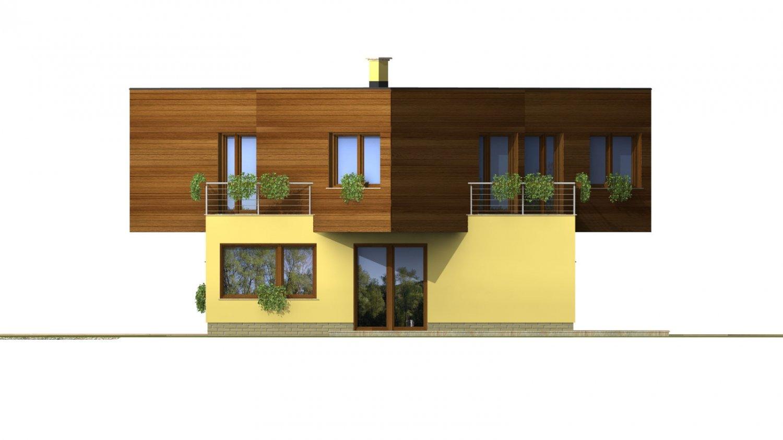 Pohľad 4. - Moderný projekt poschodového rodinného domu s rovnou strechou