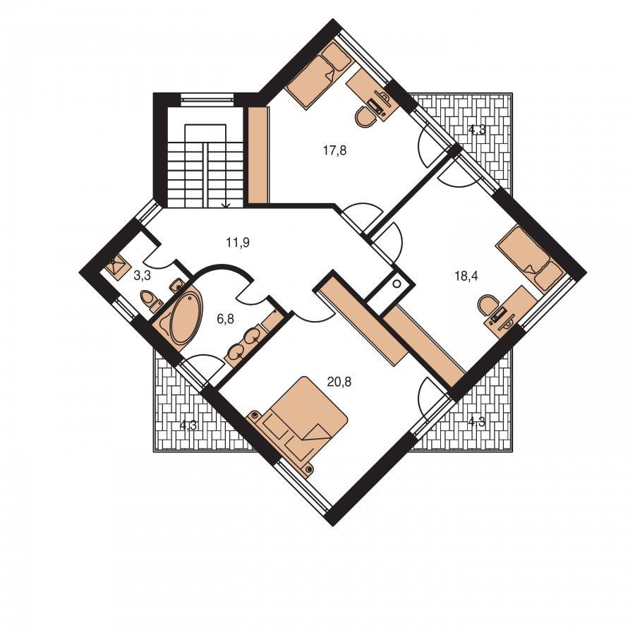 Pôdorys Poschodia - Supermoderný projekt rodinného domu