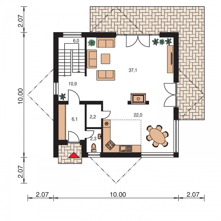 Pôdorys Prízemia - Supermoderný projekt rodinného domu