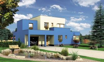 Projekt moderného rodinného domu s plochou strechou a garážou