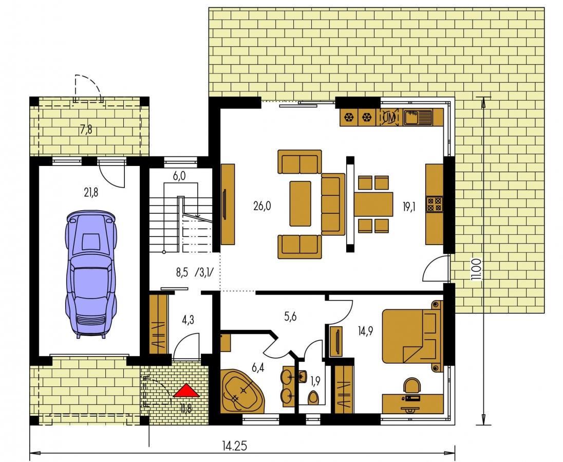 Pôdorys Prízemia - Projekt moderného rodinného domu s plochou strechou a garážou