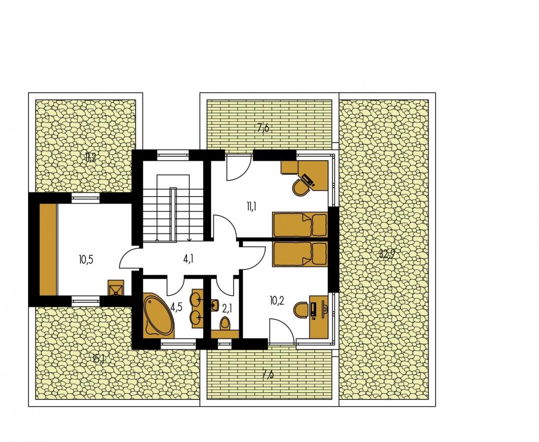 Pôdorys Poschodia - Projekt moderného rodinného domu s plochou strechou, izbou na prízemí a garážou.