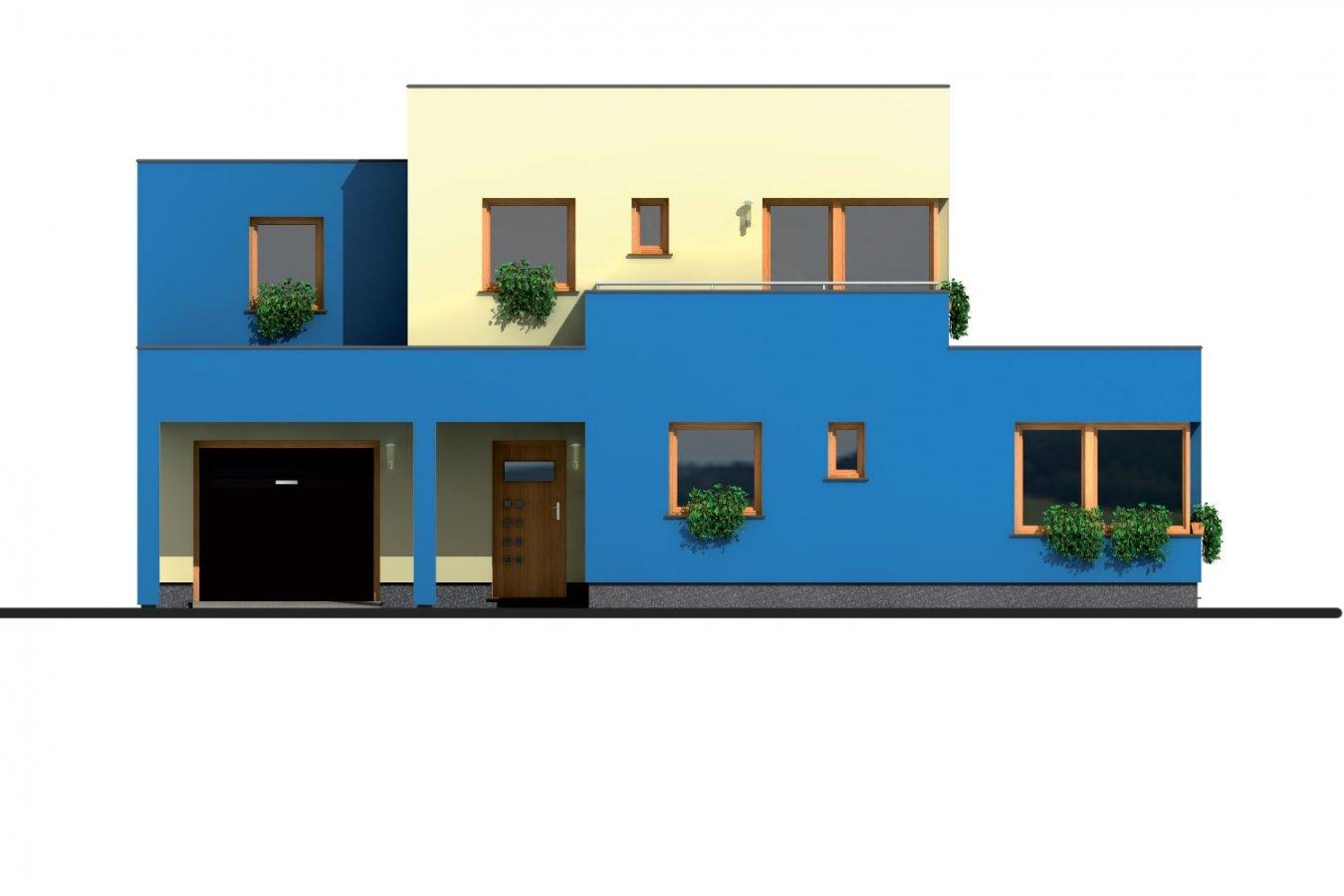 Pohľad 1. - Projekt moderného rodinného domu s plochou strechou, izbou na prízemí a garážou.