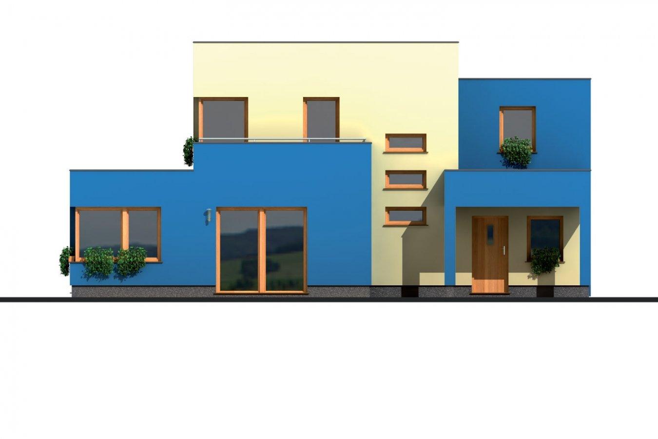 Pohľad 3. - Projekt moderného rodinného domu s plochou strechou a garážou