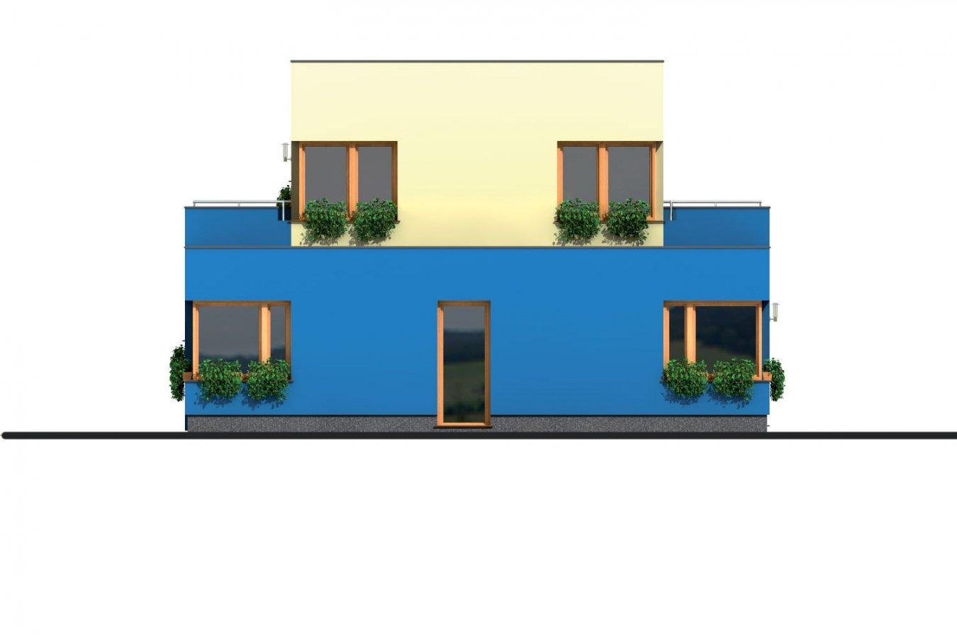Pohľad 4. - Projekt moderného rodinného domu s plochou strechou a garážou