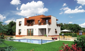 Veľký dom s plochou strechou