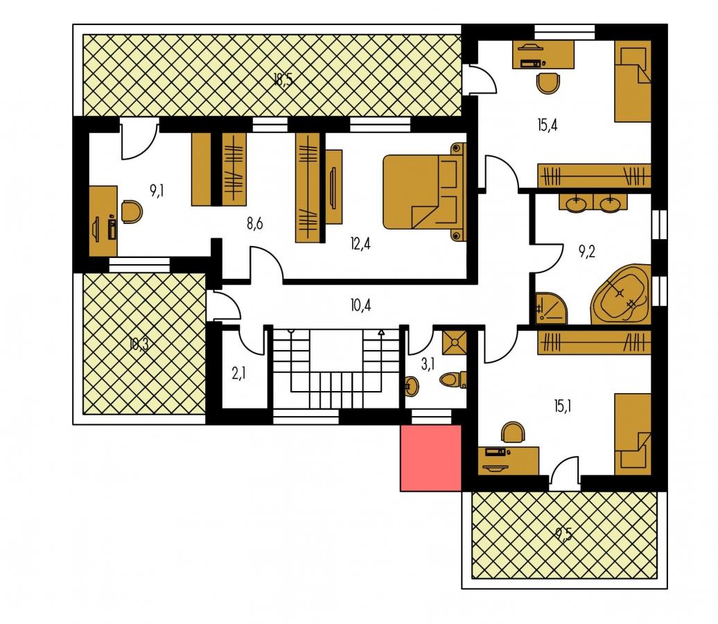 Pôdorys Poschodia - Veľký dom s plochou strechou.