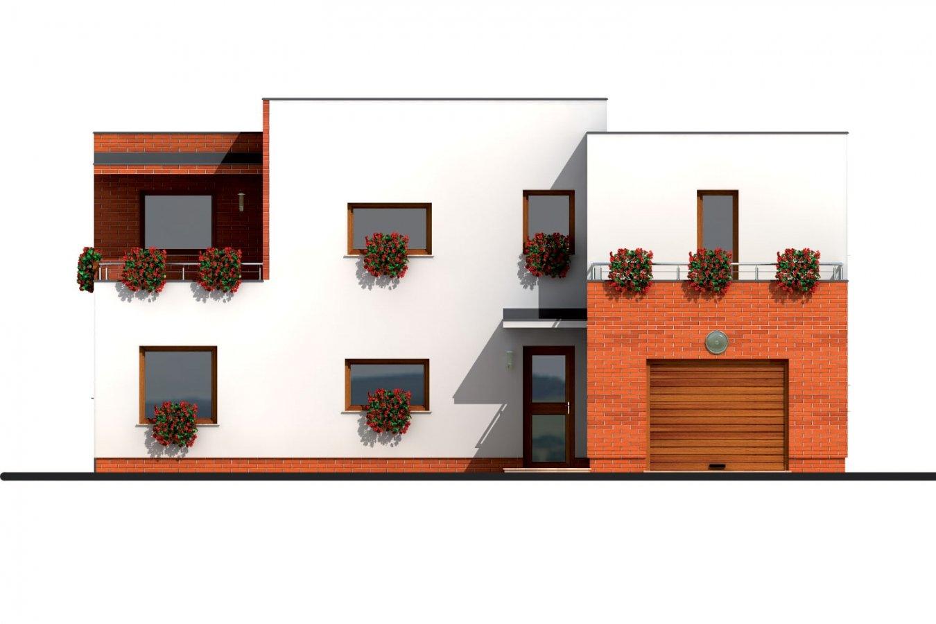 Pohľad 1. - Veľký dom s plochou strechou.