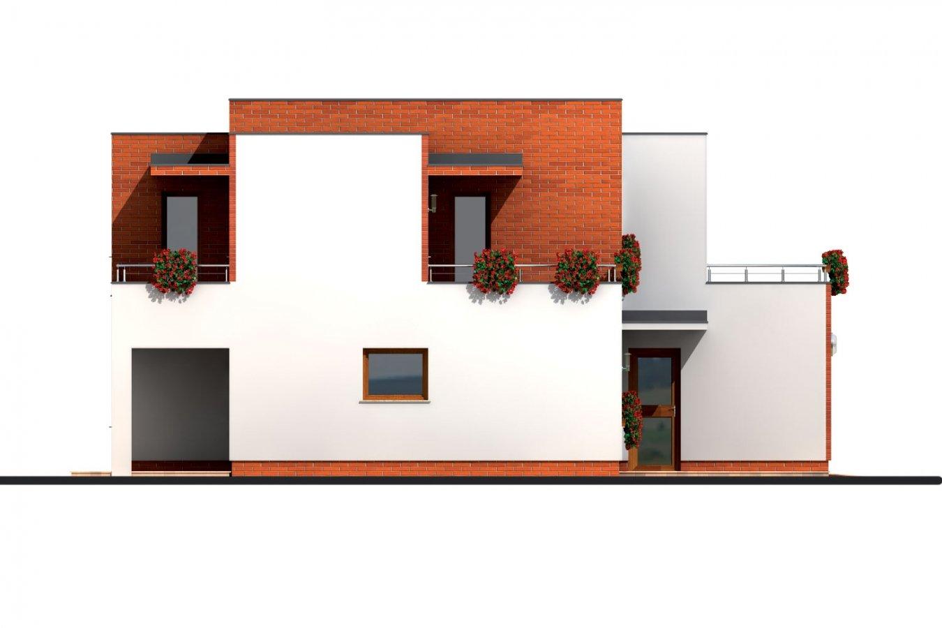 Pohľad 2. - Veľký dom s plochou strechou.