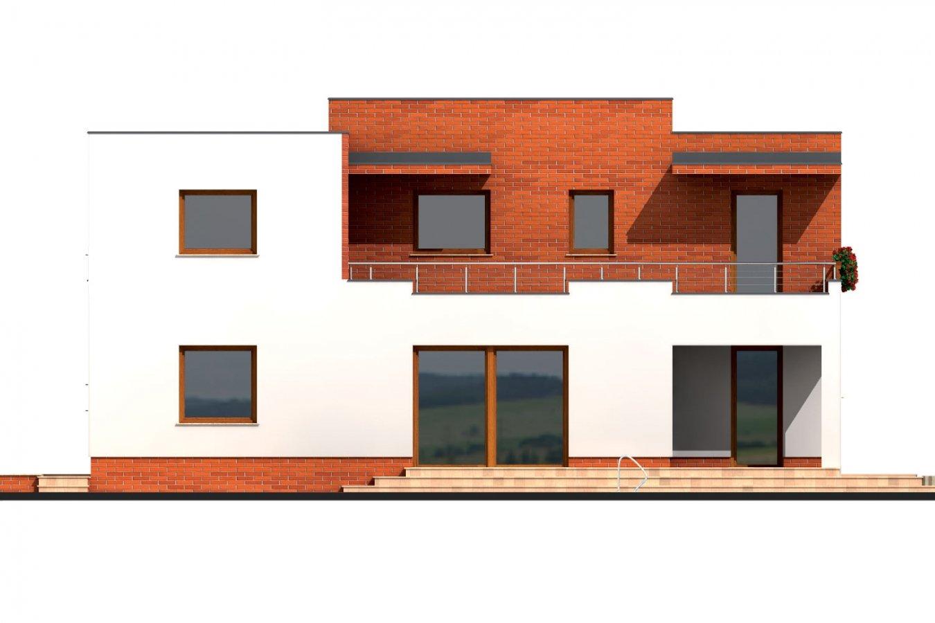 Pohľad 3. - Veľký dom s plochou strechou.