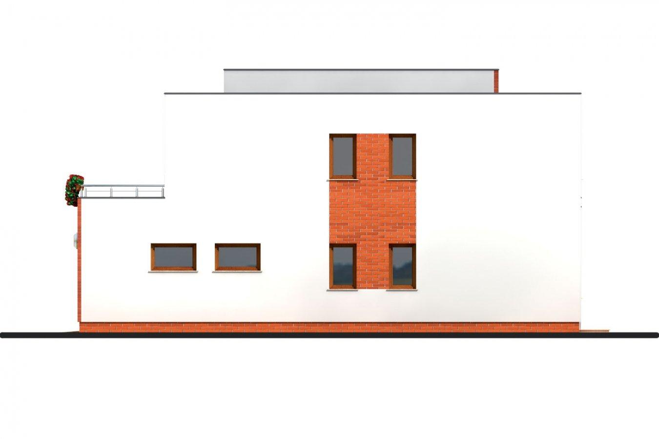 Pohľad 4. - Veľký dom s plochou strechou.