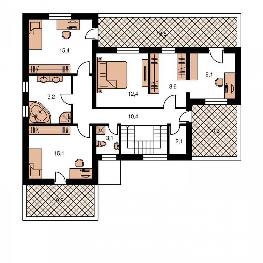 Pôdorys Poschodia - Veľký dom s plochou strechou