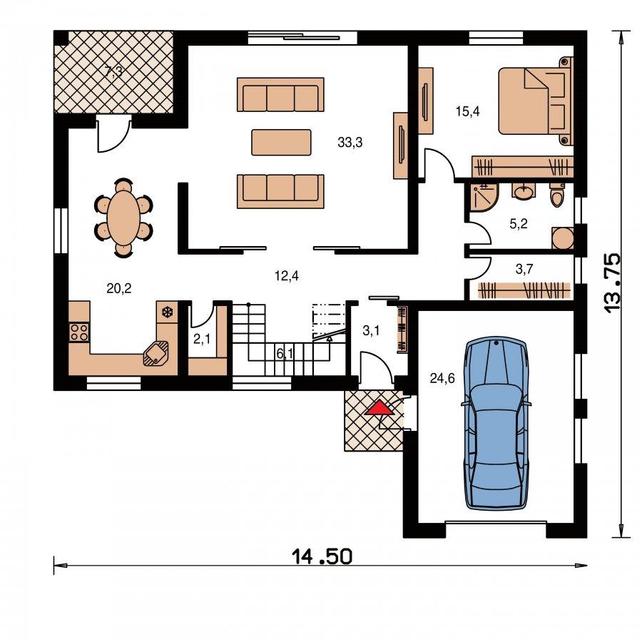 Pôdorys Prízemia - Veľký dom s plochou strechou