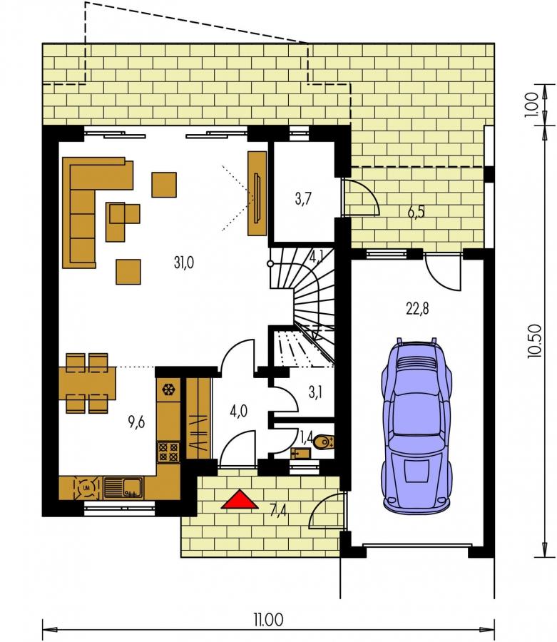 Pôdorys Prízemia - 4-izbový rodinný dom s garážou.