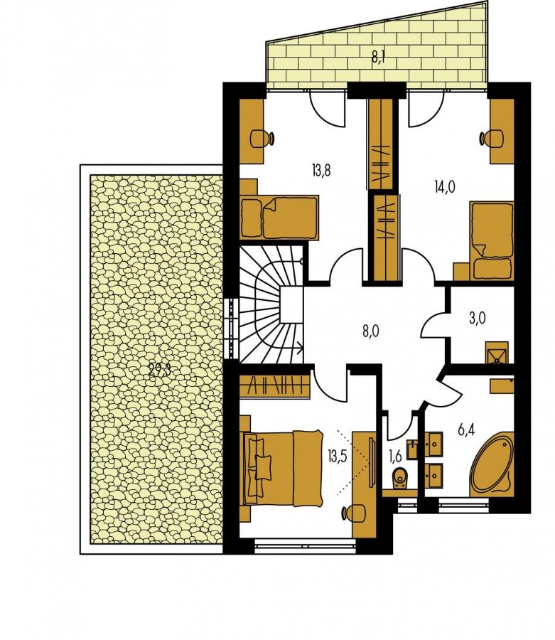 Pôdorys Poschodia - 4-izbový rodinný dom s garážou.