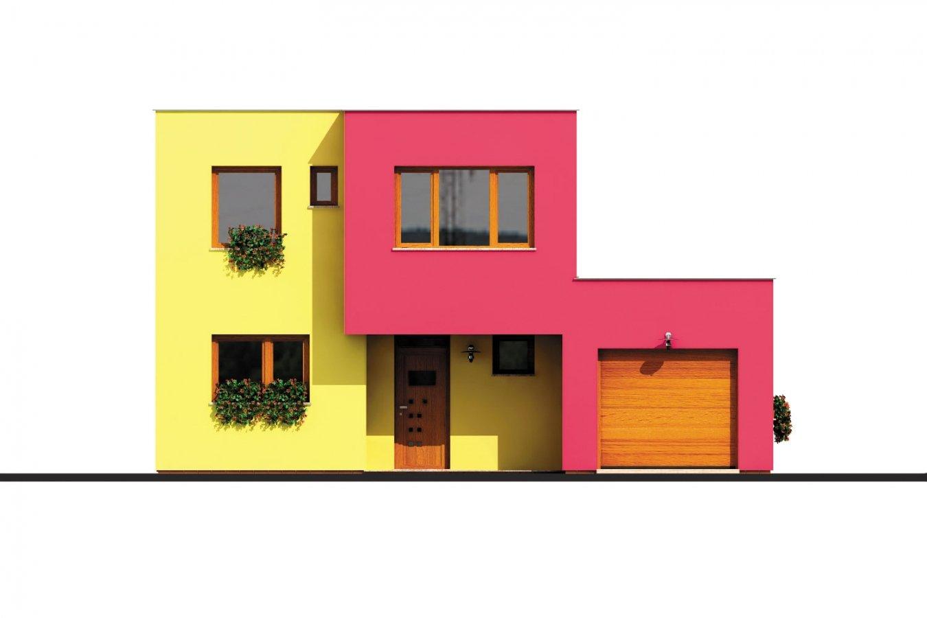 Pohľad 1. - Projekt domu s rovnou strechou