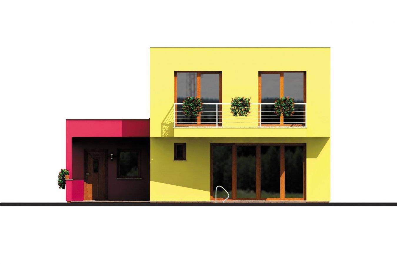 Pohľad 3. - Projekt domu s rovnou strechou