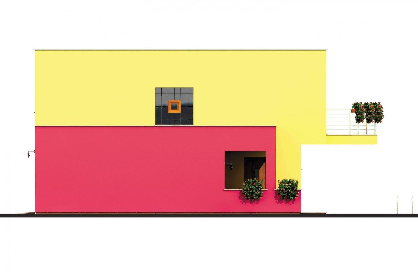 Pohľad 4. - Projekt domu s rovnou strechou