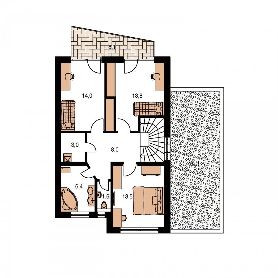 Pôdorys Poschodia - Projekt domu s rovnou strechou