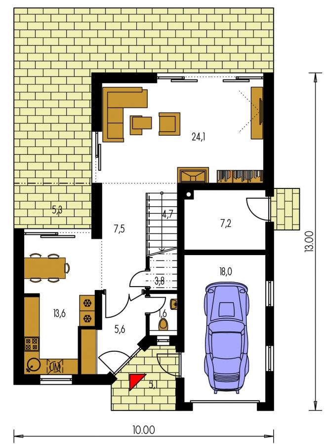 Pôdorys Prízemia - Moderne riešený 4-izbový dom.
