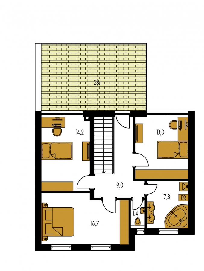 Pôdorys Poschodia - Dom s terasou