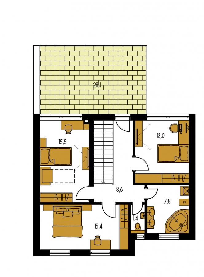 Pôdorys Poschodia - Moderne riešený 4-izbový dom.