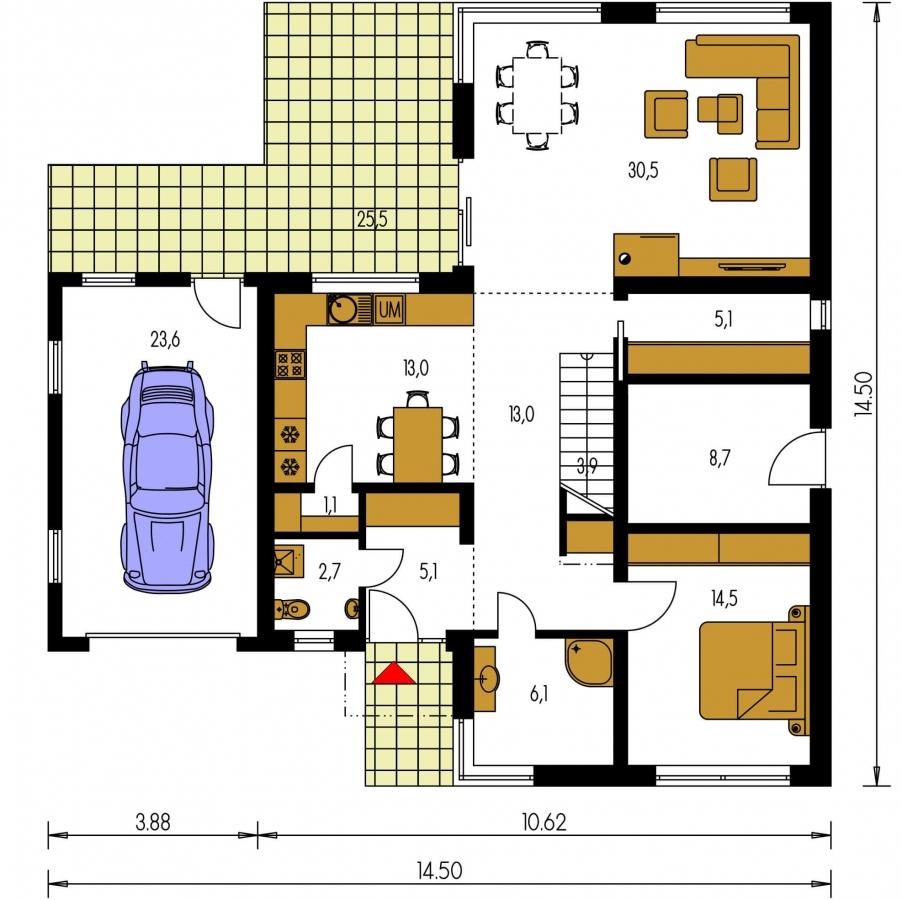Pôdorys Prízemia - Priestranný rodinný dom s garážou a izbou na prízemí.
