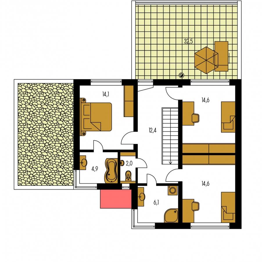 Pôdorys Poschodia - Priestranný rodinný dom s garážou a izbou na prízemí.