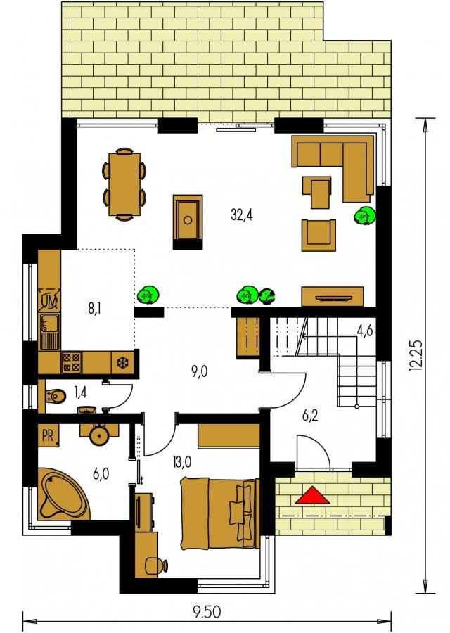 Pôdorys Prízemia - Rodinný dom s plochou strechou