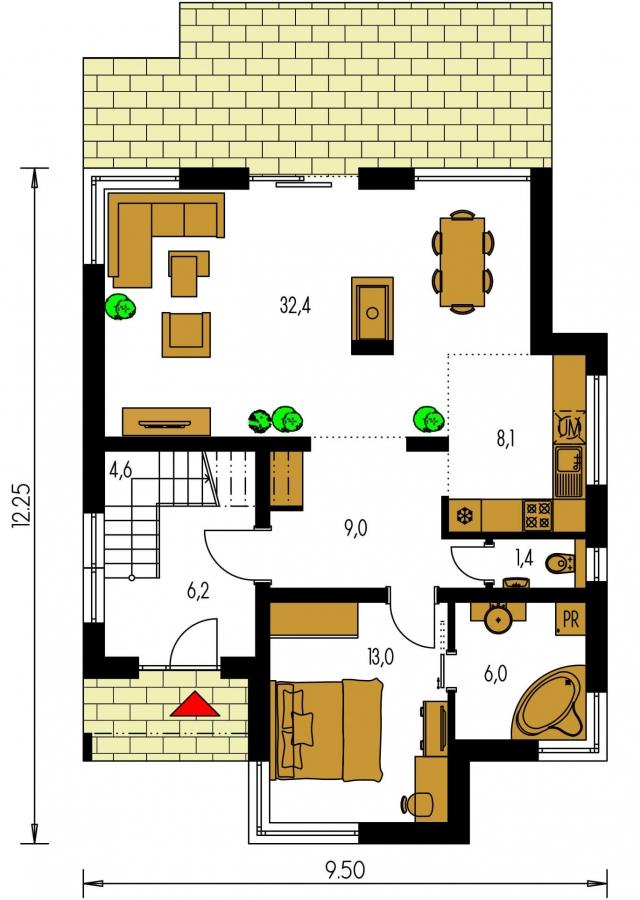 Pôdorys Prízemia - Rodinný dom s izbou na prízemí.