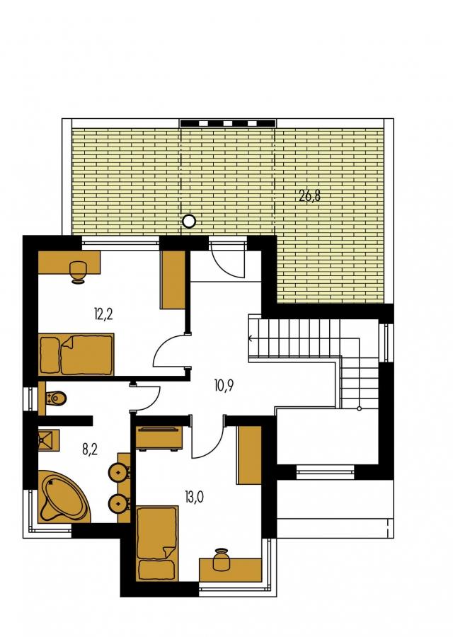 Pôdorys Poschodia - Rodinný dom s plochou strechou