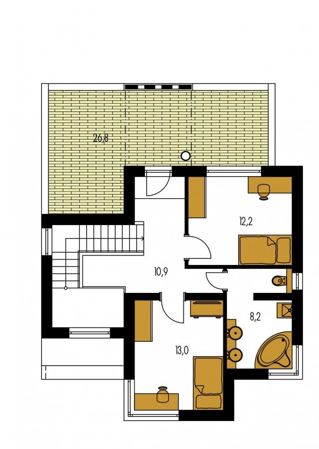 Pôdorys Poschodia - Rodinný dom s izbou na prízemí.