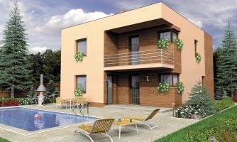 Projekt poschodového rodinného  domu s plochou strechou.