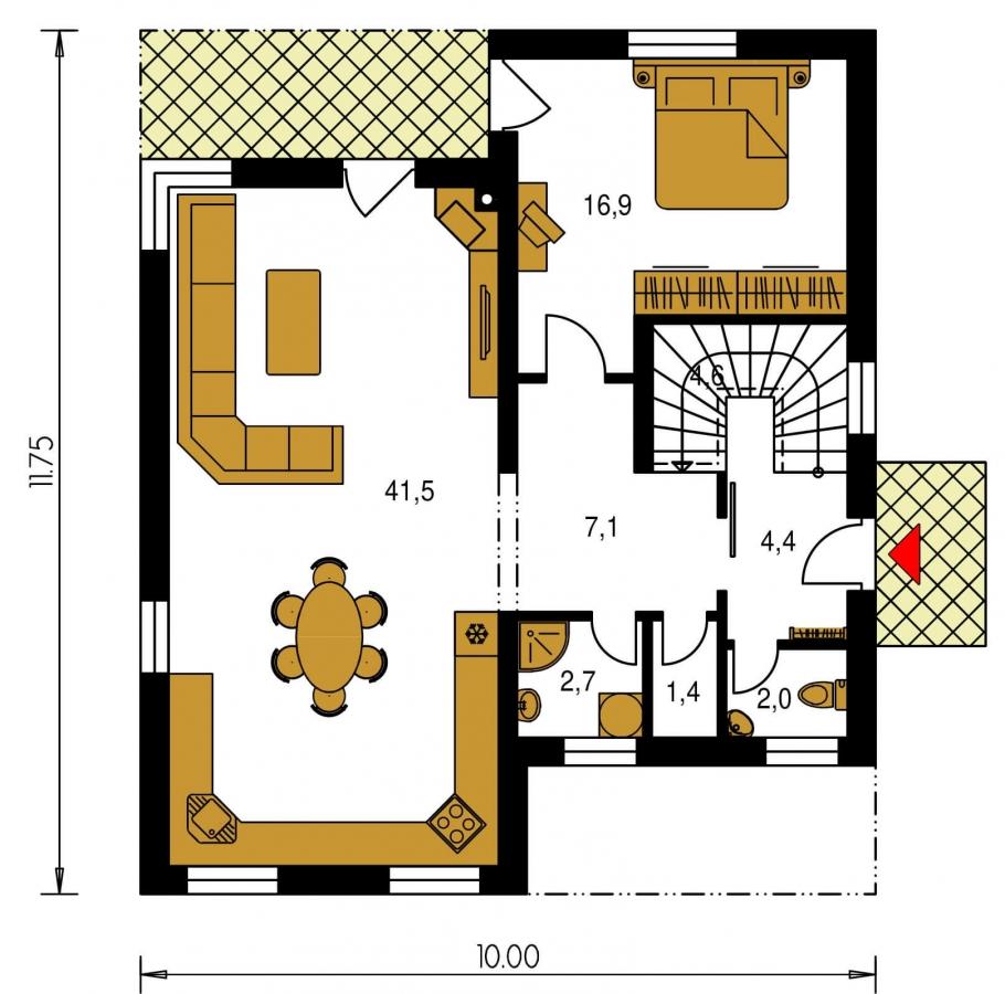 Pôdorys Prízemia - Projekt poschodového rodinného  domu s plochou strechou.