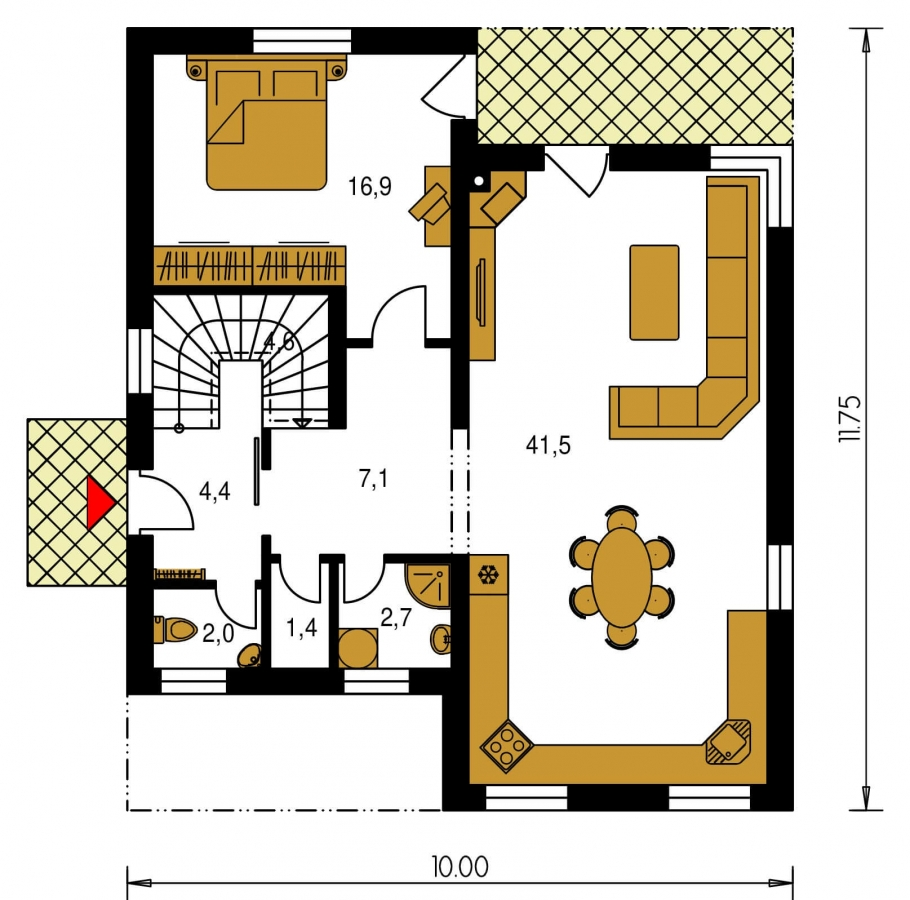 Pôdorys Poschodia - Projekt poschodového rodinného  domu s plochou strechou.