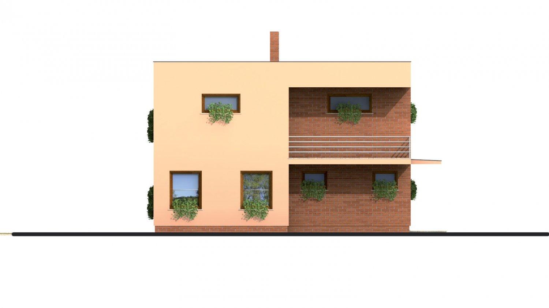 Pohľad 2. - Projekt poschodového rodinného  domu s plochou strechou.