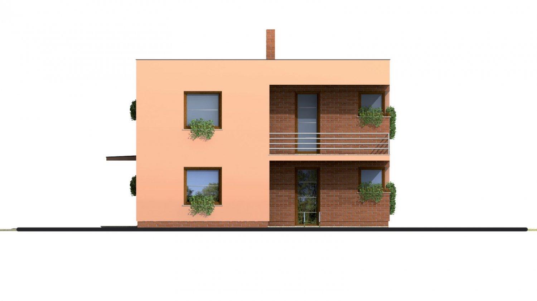 Pohľad 4. - Projekt poschodového rodinného  domu s plochou strechou.