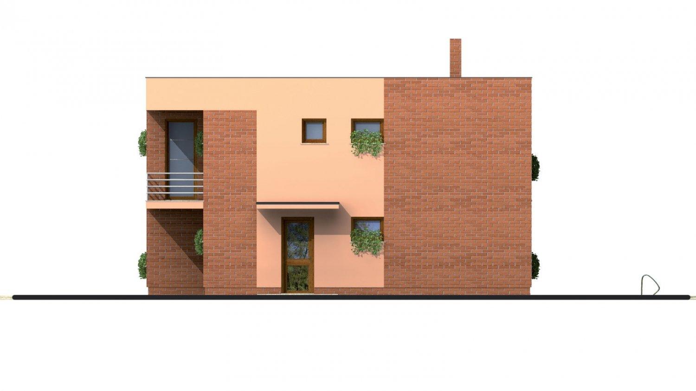 Pohľad 1. - Projekt poschodového rodinného  domu s plochou strechou.