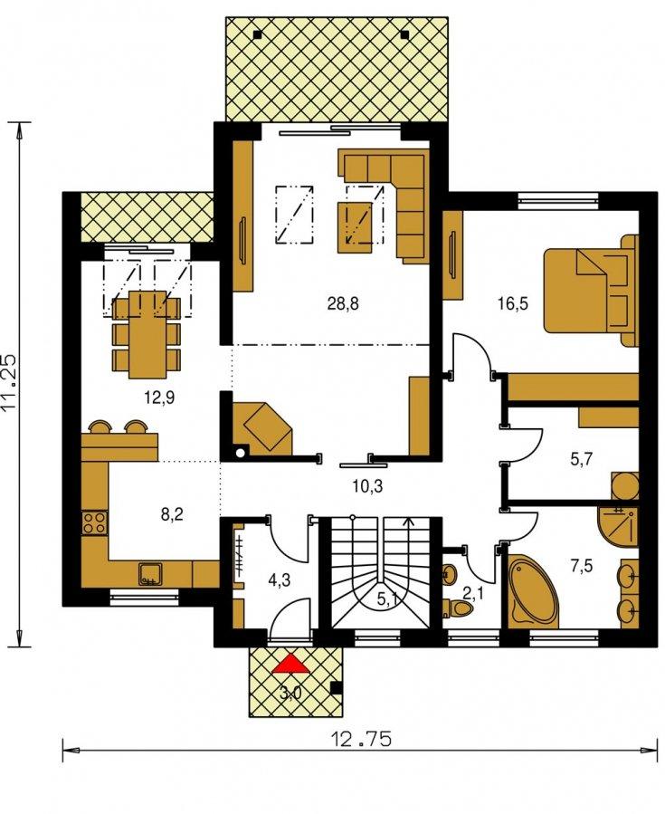 Pôdorys Prízemia - Prízemný aj poschodový murovaný rodinný dom vhodný aj do radovej zástavby, alebo ako dvojdom, zrušením galérie sa získa izba na poschodí